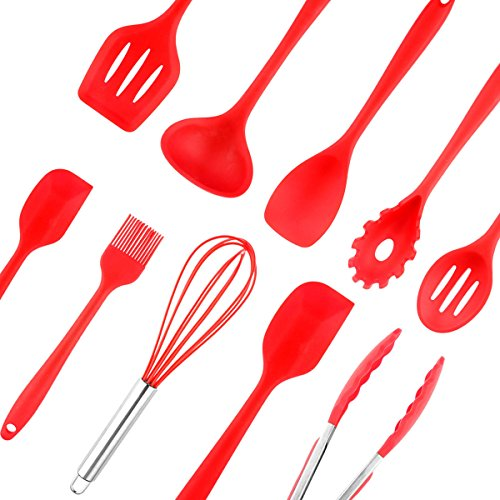 Silicone Kitchen Utensils Tool ONEVER Cooking Baking Utensil Set Heat Resistant Baking Spoonula, Brush,Whisk, Spatula,Ladle,Slotted Turner and Spoon,Tongs,Pasta Fork 10pcs