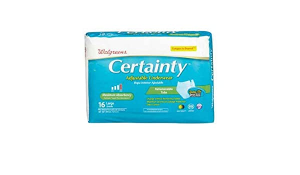 Amazon.com: Walgreens Certainty Adjustable Underwear, Maximum Absorbency, Large, 16 ea: Health & Personal Care