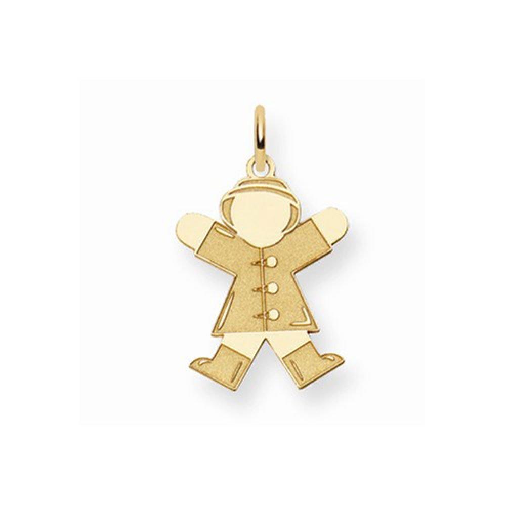 14K Yellow Gold Laser Cut Jumping Kid in Coat Charm Pendant