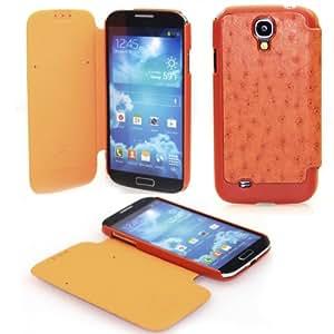 NetsPower® prima PU cuero del tirón de la cubierta del bolso del caso para Samsung i9500 Galaxy S4 IV - Orange