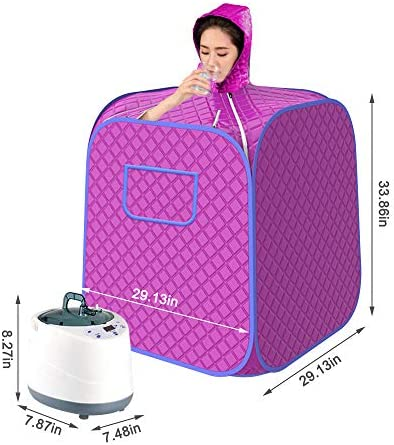 ETE ETMATE Portable Steam Sauna Tent, Lightweight Folding Tent with Upgrade 2L Steamer, Lightweight Home Sauna Spa Tent, One Person Full Body Spa for Weight Loss Detox Relaxation with Remote Control