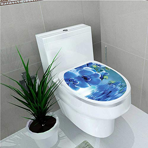 - aolankaili Bathroom Toilet seat Sticker Decal Orchids Asian Natural Flowers Reflections on Water for Spring Time Relaxing Print Blue W12 x L14