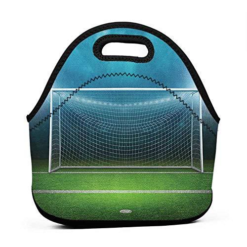 Rugged Lunchbox Soccer,Soccer Goal Post Sports Area Winner Loser Line Floodlit Best Team Finals Game Theme, Green Blue,giants lunch bag for men