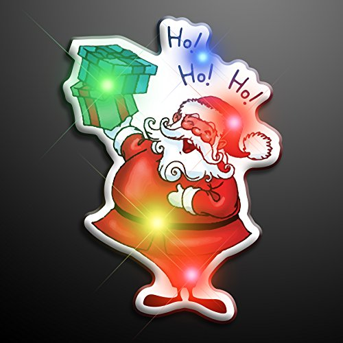 Ho Ho Ho Santa Flashing Blinking Light Up Body Lights Pins (25-Pack)
