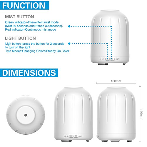 Aromatherapy Essential Oil Diffuser,120ml Aroma Diffuser Portable Ultrasonic Cool Mist Humidifier with 7 LED Colors, Mist Mode Adjustment and Waterless Auto Shut-off for Home,Office,Bedroom, 2 Pack