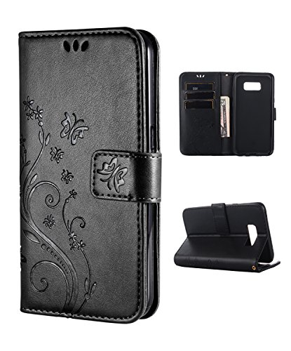 Samsung S8 Case,Galaxy S8 Wallet Case, FLYEE Flip Case Wallet Leather [Kickstand] Emboss Butterfly Flower Folio Magnetic Protective Cover with Card Slots for Samsung Galaxy S8 Black ()