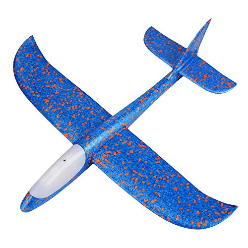 ❤Ywoow❤❤ , Foam Throwing Glider Airplane Inertia LED Aircraft Toy Hand Launch Airplane -