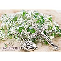 Unique Green Crystal Beads Catholic Rosary with Holy Soil Medal & Crucifix