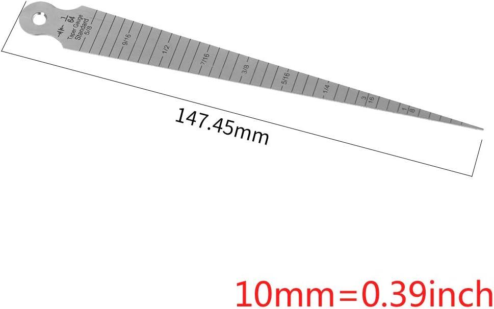 BIlinli 1-15mm Stainless Steel Welding Inspection Taper Gauge Metric Measure Gage Gap Hole Stainless Gap Hole Taper Welding Gauge Test Ulnar Inch /& Metric