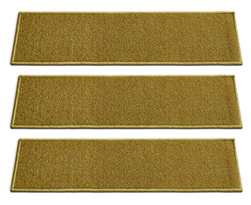 - [Set of 7] Green Solid Color Stair Tread Rugs | Modern Design Carpet Treads [Easy to Clean] Rubber Non-Slip Non-Skid Backing | Nylon Low Pile 9