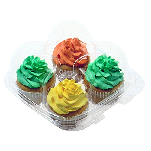 OccasionWise Clear Cupcake Boxes with 4 Compartments | Durable Large Cup Cake Container/Holder to Keep Your Cupcakes or Muffins Delicious and Fresh Longer (25 Pack) (Four Tray Compartment)