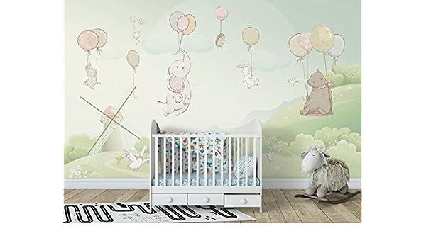 amazon com animals with balloon nursery decorative wallpaper fly to
