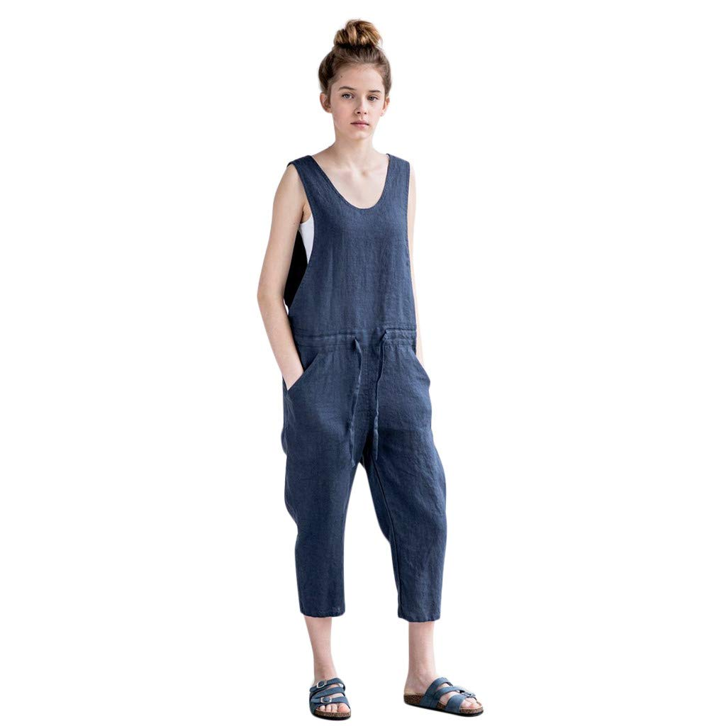 ✿HebeTop✿ Womens Casual Loose Sleeveless Spaghetti Strap Wide Leg Pants Jumpsuit Rompers Navy