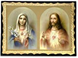 Italian Deluxe Sacred Heart of Jesus and Mary Wall Plaque with Gold Border and Wall Hook - Made in Italy