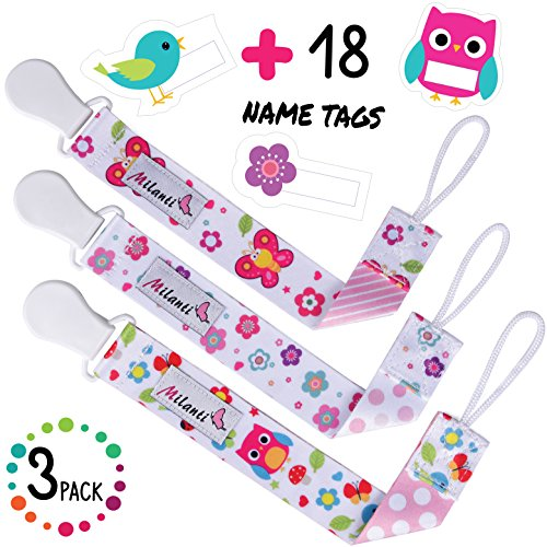 Pacifier Clip for Girls, Pack of 3 by Milanti + 18 Name Tags Labels, Premium Quality Fun Designs Universal Holder Leash for Pacifiers, Teething Toy or Soothie, Baby Shower Gift Set (Name Girl)