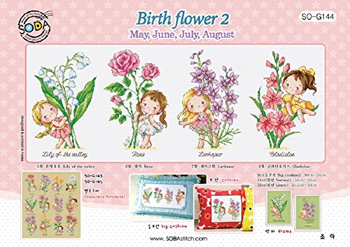Stitch Flowers Cross Chart - SO-G144 Birth Flower 2, SODA Cross Stitch Pattern Leaflet, Authentic Korean Cross Stitch Design, Cross Stitch Pattern Chart, Color Printed on Coated Paper