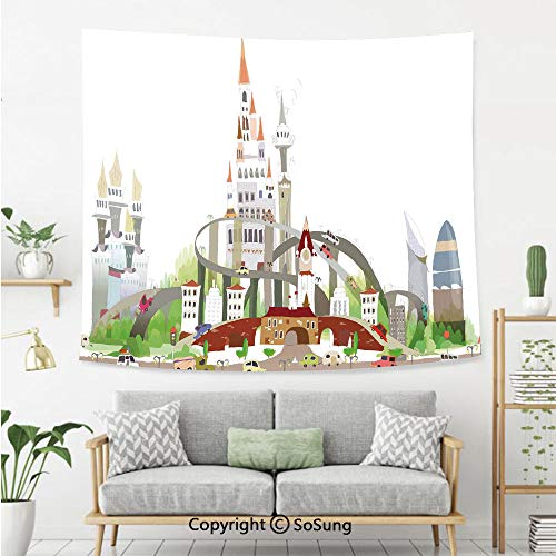 SoSung Fantasy Decor Wall Tapestry,Mega City Urban Scenery with Medieval Castle Style Skyscrapers City Illustration,Bedroom Living Room Dorm Wall Hanging,80X60 Inches,Multi