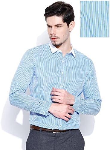 Mixta Tela rayada formal camisa de mangas largas azul Hombres: Amazon.es: Ropa y accesorios