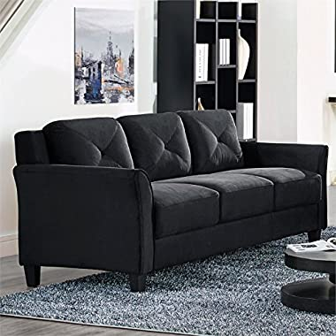 Lifestyle Solutions CCHRFKS3M26BKVA Hartford sofa with Tapered Wooden Legs Piped Stitching Button Tufting Back and Microfiber Upholstery in