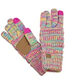 C.C Unisex Cable Knit Winter Warm Anti-Slip Touchscreen Texting Gloves, Bright Mix