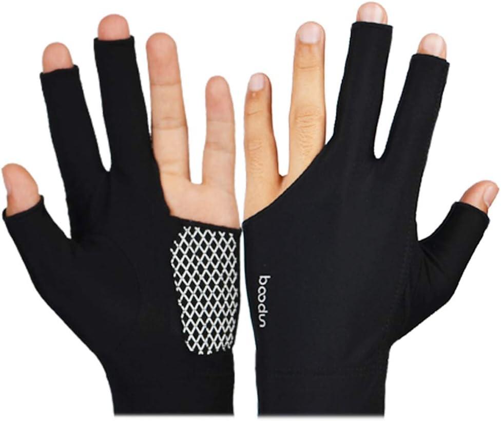 Men Women Lycra 3 Fingers Billiards Gloves Pool Cue Gloves Show Gloves for Billiard Shooters Carom Pool Snooker