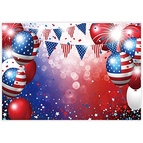 Allenjoy 7x5ft Independence Day Backdrop for Photography American Flag Stars and Stripes Ballon Veterans Day Decor 4th of July Patriotic Party Banner Photo Studio Booth Newborn Baby Shower Background