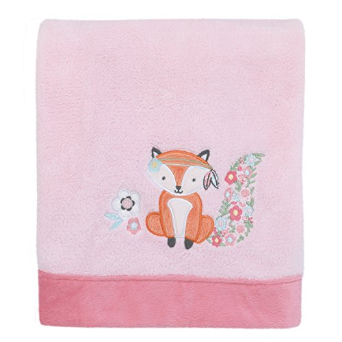 Aztec Mix & Match Super Soft Pink Floral/Fox Appliqued Baby Blanket