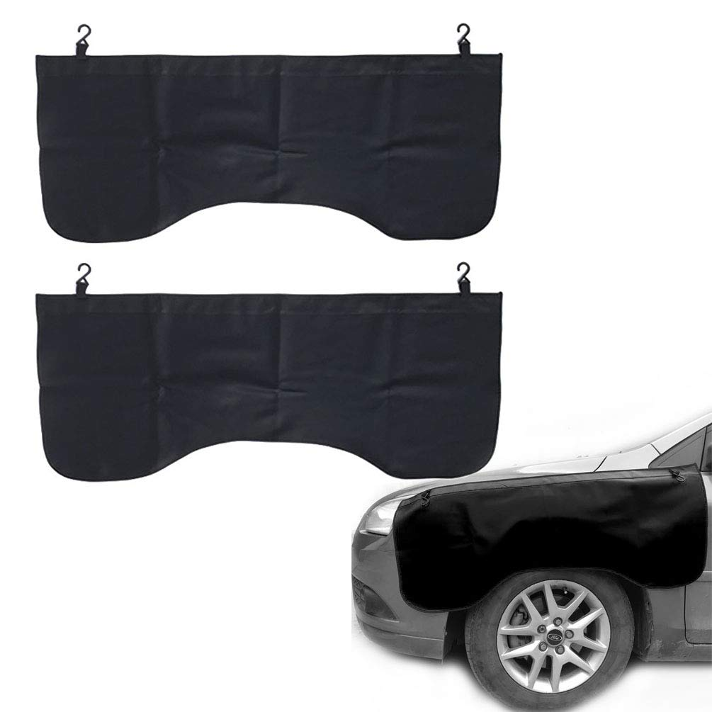 Pack of Two, Black Automotive Magnetic Leather Fender Protector Side Fender Cover Wing Cover Car Gripper Mechanic Work Mat Pad, 43.3inch x 17.7inch