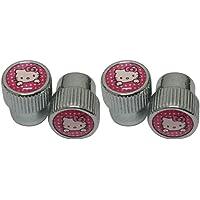 4 piezas cromo rosa Hello Kitty logo coche accesorios cabeza grande válvula Capfit para modelo de coche universal