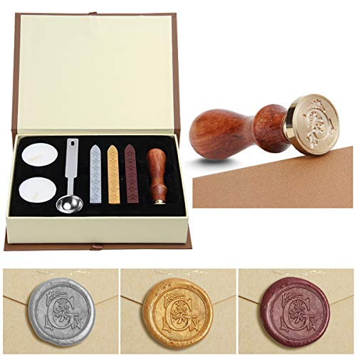 (Wax Seal Stamp Kit,Mingting Vintage Wax Stamp Seal Kit Initial Letters Alphabet (G) )