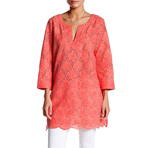 KC Signatures Women's Eyelet Embroidered Cotton Top Tunic Shirt with Scalloped Hem (Signature Silk Linen Collection)