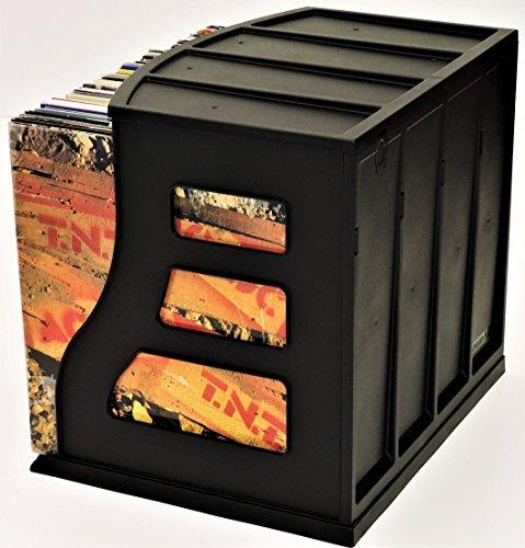 Stackable Vinyl Record Storage Rack 12'' LP Holder Organizer Over 75 Albums Ring Binder Stand Lever Arch Crate 12x12 Paper Storage Rack Magazine Holder Shelf Cube Box by Binder Way (Image #7)