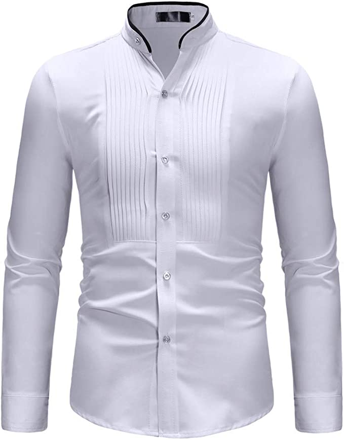 Fashion Men/'s Casual Slim Fit Long Sleeve Stand Collar T Shirt Top Blouse Shirts