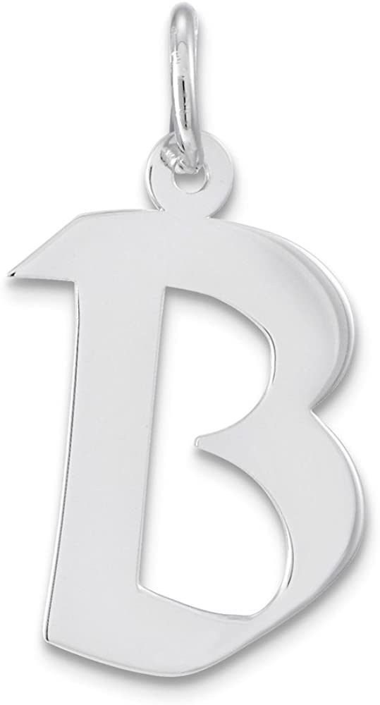 Sterling Silver Rhodium-plated Medium Artisan Block Initial B Charm