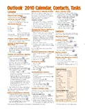 Microsoft Outlook 2010 Calendar, Contacts, Tasks Quick Reference Guide (Cheat Sheet of Instructions, Tips & Shortcuts - Laminated Card)