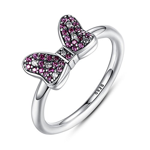 PSRINGS Pure Fashion 925 Sterling Silver Minnie's Sparkling Bow Party Ring With Red Fine Jewelry 6.0