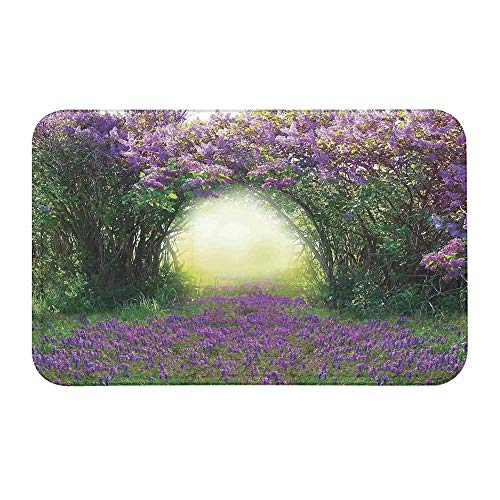 TecBillion Country Decor Comfortable Door Mat,Magic Misty Forest Spring Blossoms Bushes Greenery Grasses Sunlight for Home Office,23
