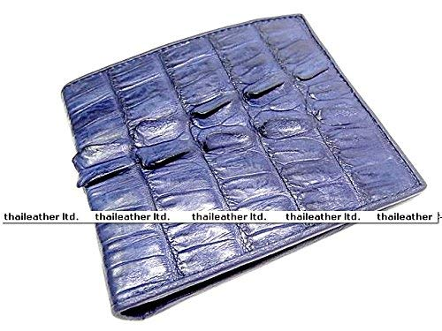 100% GENUINE CROCODILE TAIL LEATHER MEN'S WALLET SHINY DARK BLUE NEW (Exotic Skin Wallets)