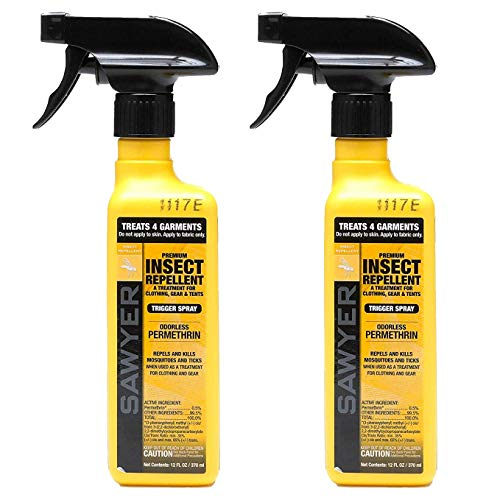 Sawyer Products SP6492 Premium Permethrin Clothing Insect Repellent Trigger Spray, Twin Pack, 12-Ounce