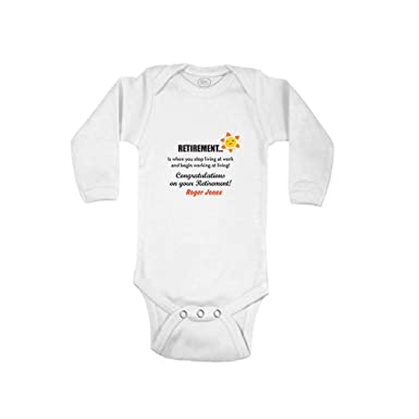 2e6286b8d Personalized Custom Retirement Cotton Long Sleeve Envelope Neck Boys-Girls Baby  Bodysuit One Piece -