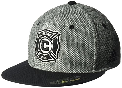 adidas MLS Chicago Fire Men's Heathered Gray Fabric Flat Visor Flex Hat, Small/Medium, Gray