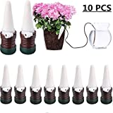 JETTINGBUY 10 Pcs Indoor Automatic Watering System Drip Irrigation Device, Gardening Tools for Flower Pots Self Plant Waterer Ceramic Probes,Slow Release Houseplant Spikes Self Watering