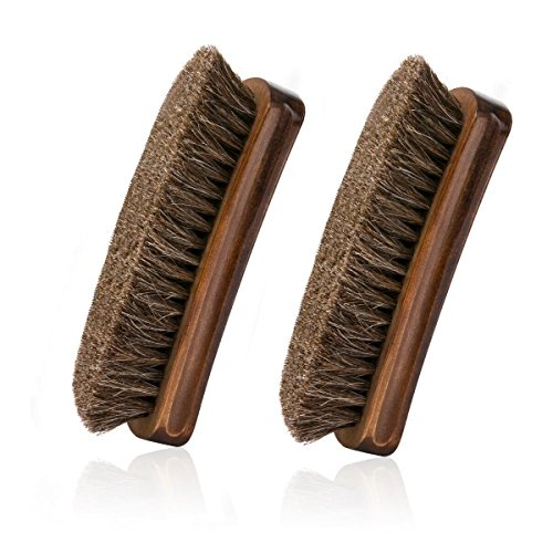 Horsehair Shoe Brush, IGIYI Brown Horse Hair Shoe Shine Brushes, Horse Bristle Cleaning & Polishing Kit for Leather, Boots, Bags and More (5.9