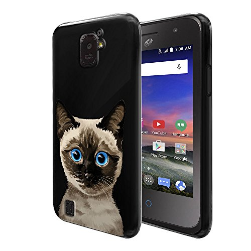 Z716G Case, Flexible TPU Black Silicone Soft Gel Skin Protector Cover Case For ZTE Citrine LTE Z716G Z717VL Z716BL - Cute Siamese Kitten Cat (Citrine Cats)