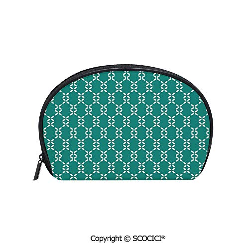 SCOCICI Durable Printed Makeup Bag Storage Bag Abstract Leaves Flower Petals Symmetrical Pattern Design Classical Simplistic Decorative for Women Girl Student