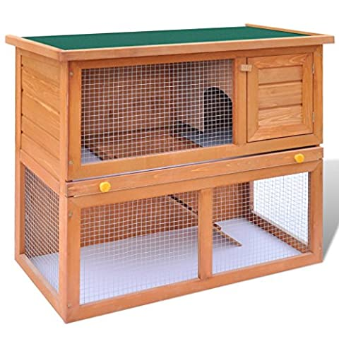 Anself Wood Rabbit Bunny Hutch 2-Story with Waterproof Roof - 2 Rabbits