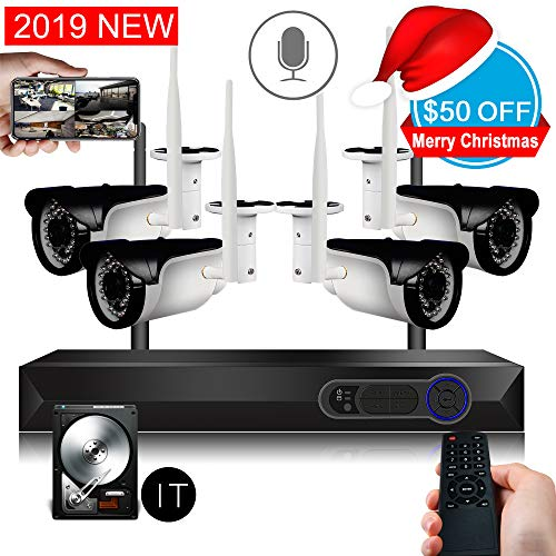 CCTV Surveillance Security System Wireless 4ch 1080P WiFi NVR Kits + 4Pcs 720P Wireless Waterproof IP Cameras, Support Microphone, Night Vision, APP Remote View, 1TB Hard Drive