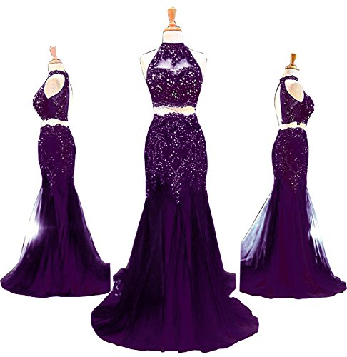 Two Prom Women's Blue 2017 Royal Lace Evening Dresses Pieces Mermaid Grape Gowns Long Fanciest 6xTpwT