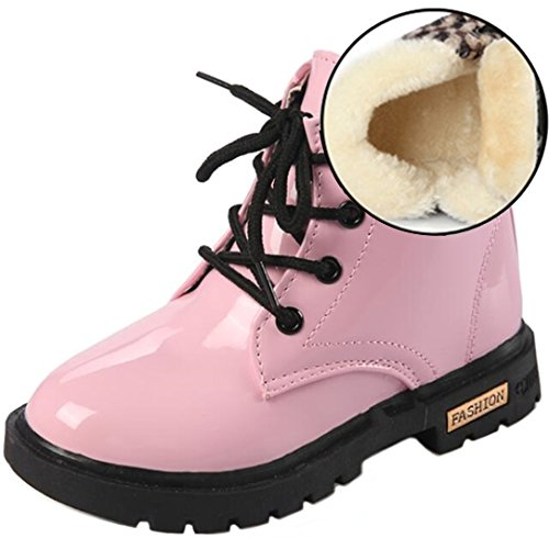 PPXID Boy's Girl's Waterproof Lace-Up Boots(Baby boy/Baby girl/Toddler/Little Kid/Big Kid)-Pink 5 US size