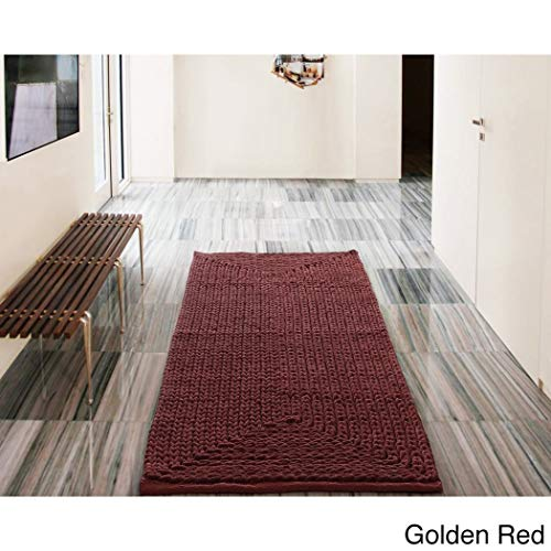 1 Piece 20 x 30 Golden Red Chenille Bath Rug, Rose Ruby Mahogany Berry Bathroom Rug Bath Mat Large Woven Design Braided Soft Solid Pattern Non-Skid Backing Luxurious Style Beautifully Designed, Cotton